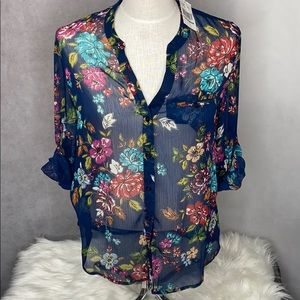 Kut from the Kloth Floral Sheer Button Up NWT S
